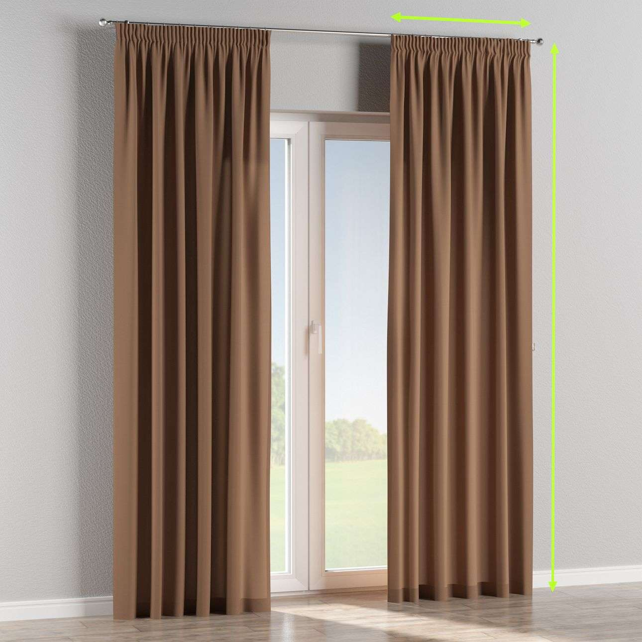 Pencil pleat lined curtains in collection Cotton Panama, fabric: 702-02