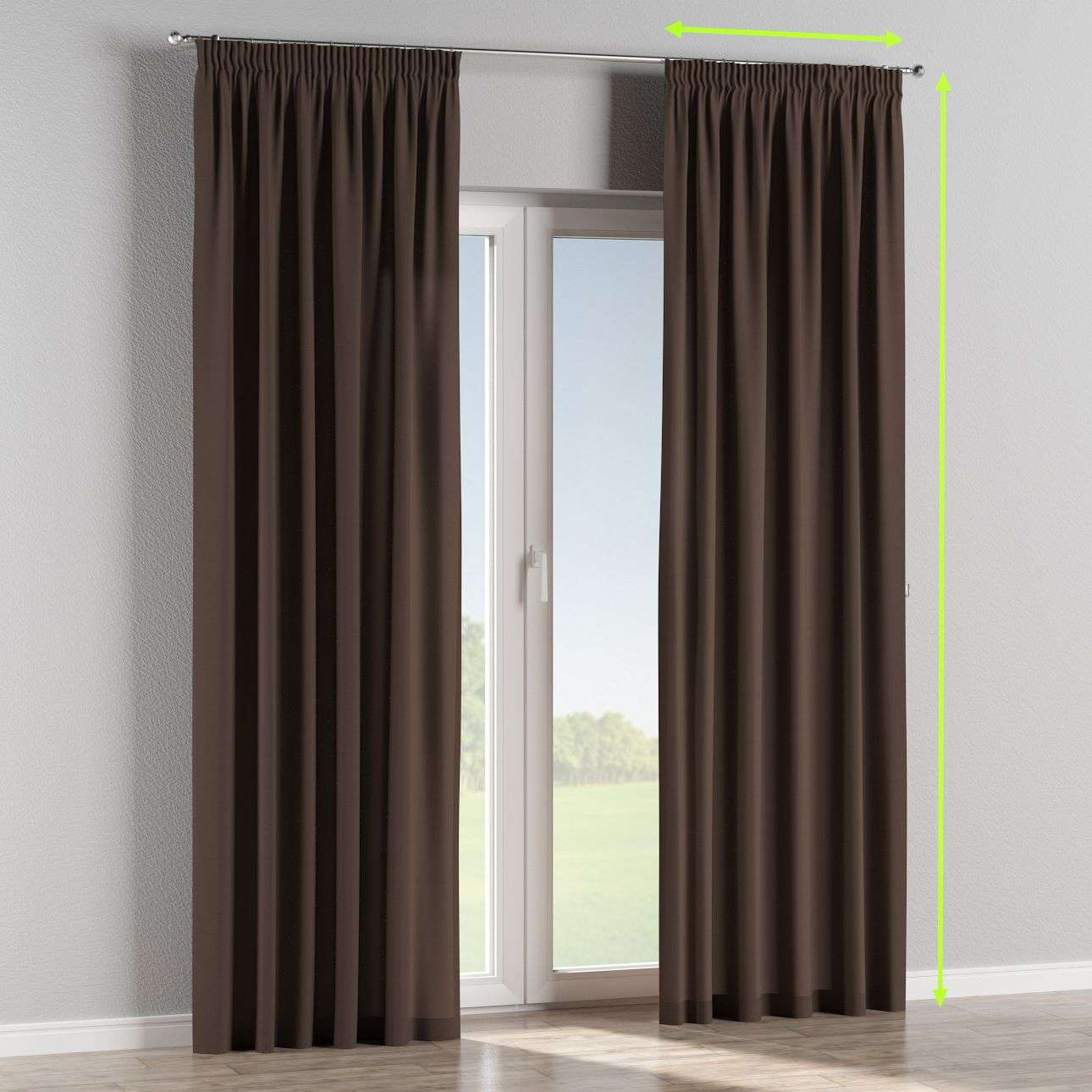 Pencil pleat lined curtains in collection Cotton Panama, fabric: 702-03