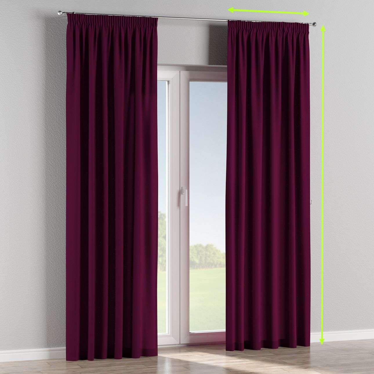 Pencil pleat lined curtains in collection Chenille, fabric: 702-12