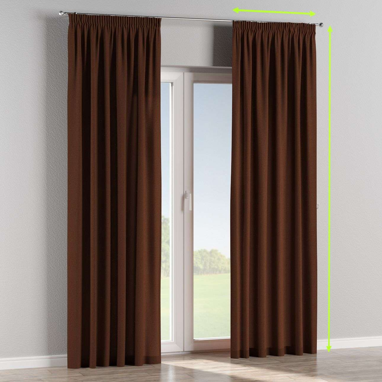Pencil pleat lined curtains in collection Chenille, fabric: 702-18