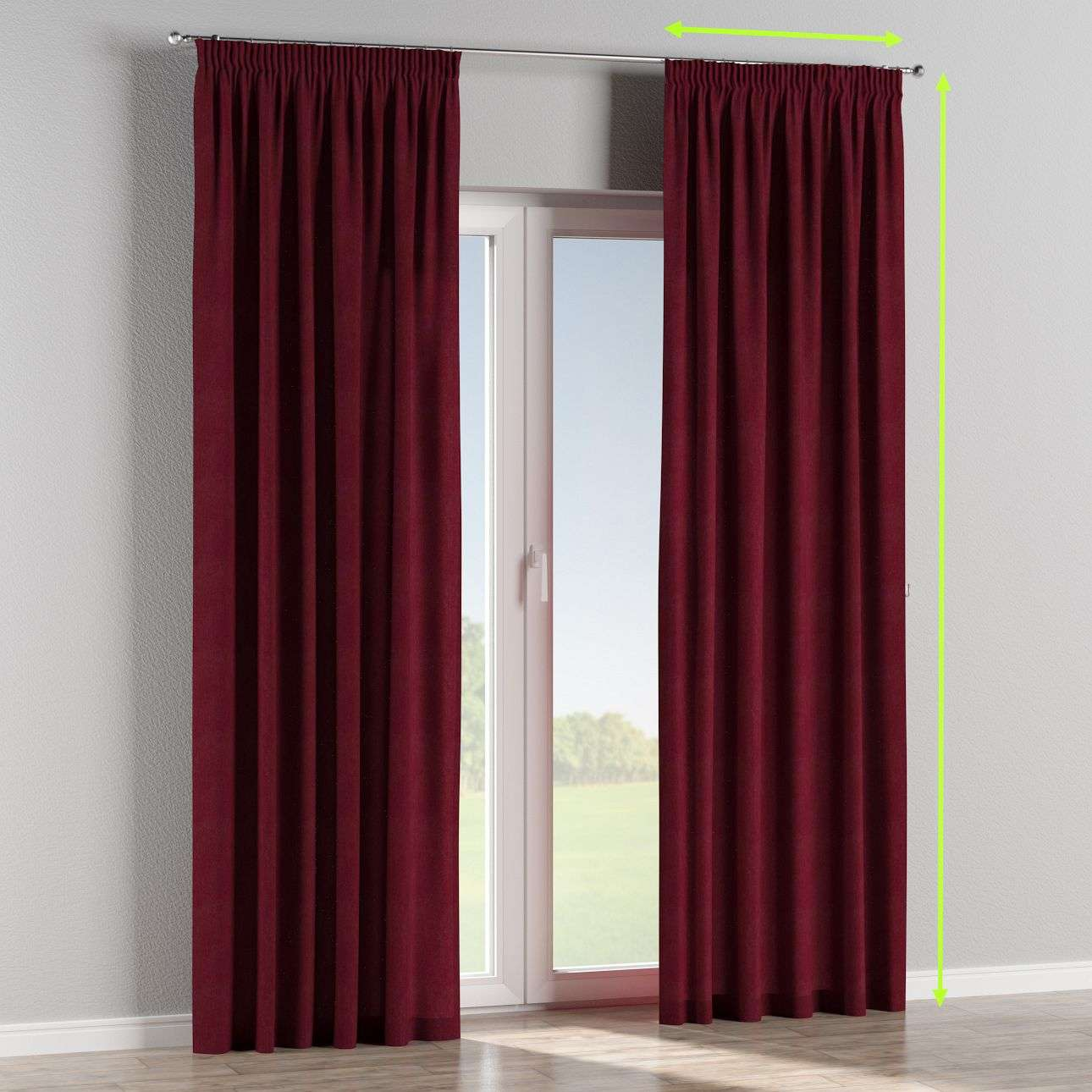 Pencil pleat lined curtains in collection Chenille, fabric: 702-19