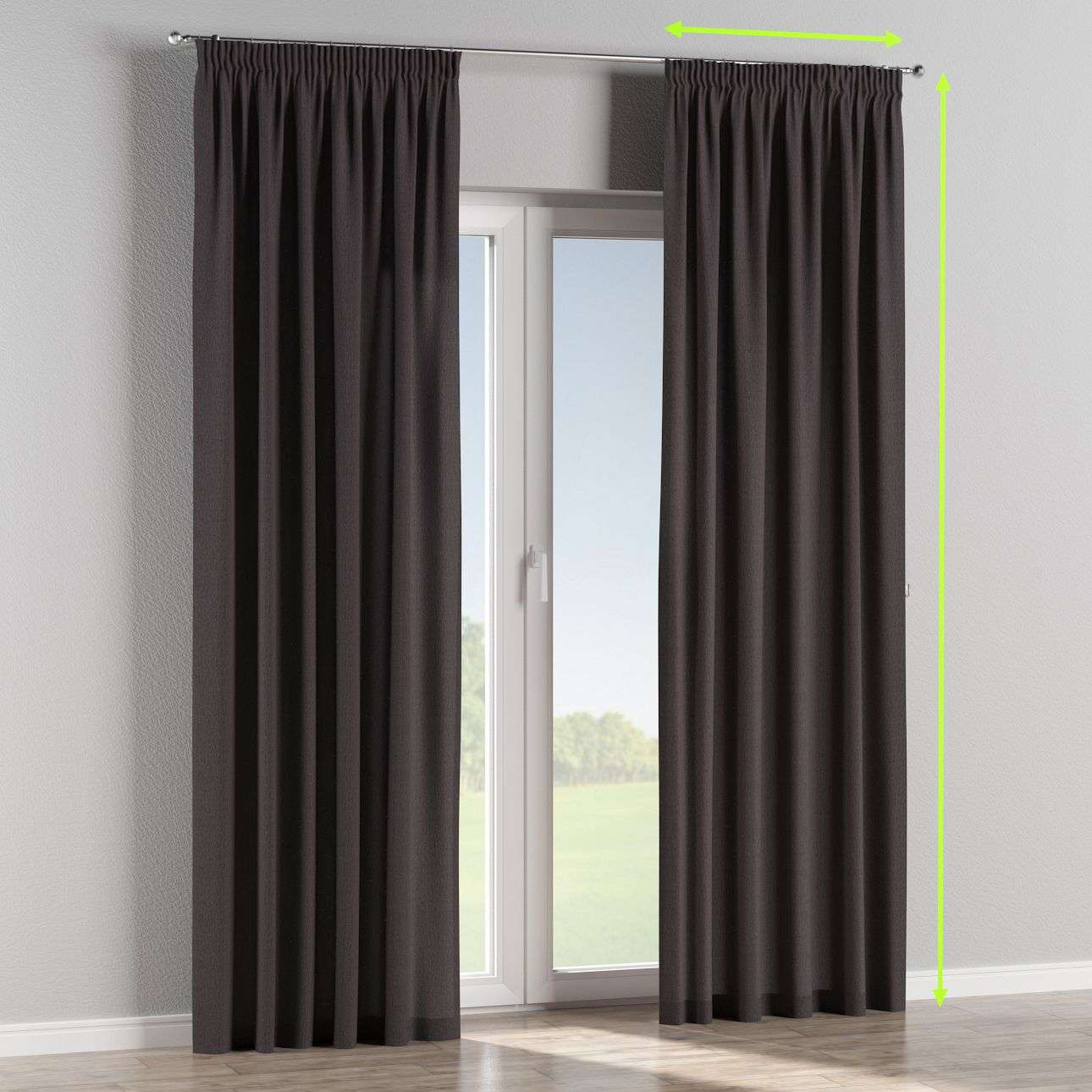 Pencil pleat lined curtains in collection Chenille, fabric: 702-20