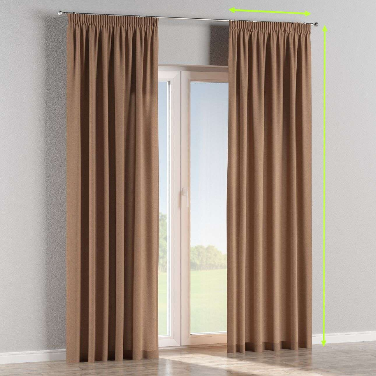 Pencil pleat lined curtains in collection Chenille, fabric: 702-21