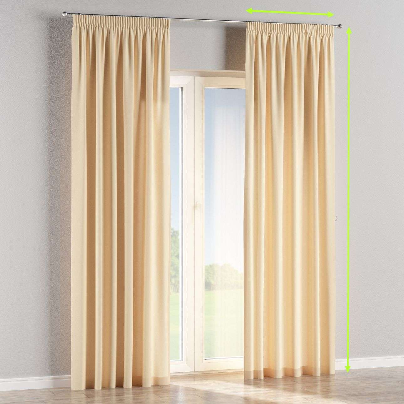 Pencil pleat lined curtains in collection Chenille, fabric: 702-22