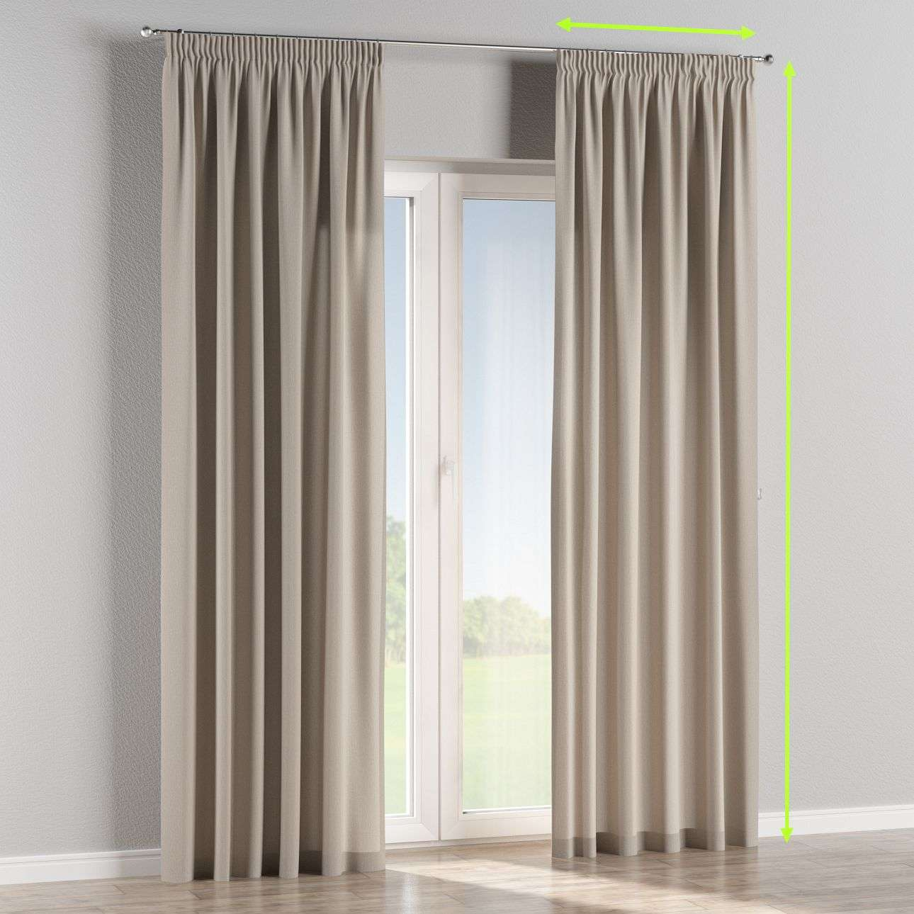 Pencil pleat lined curtains in collection Chenille, fabric: 702-23