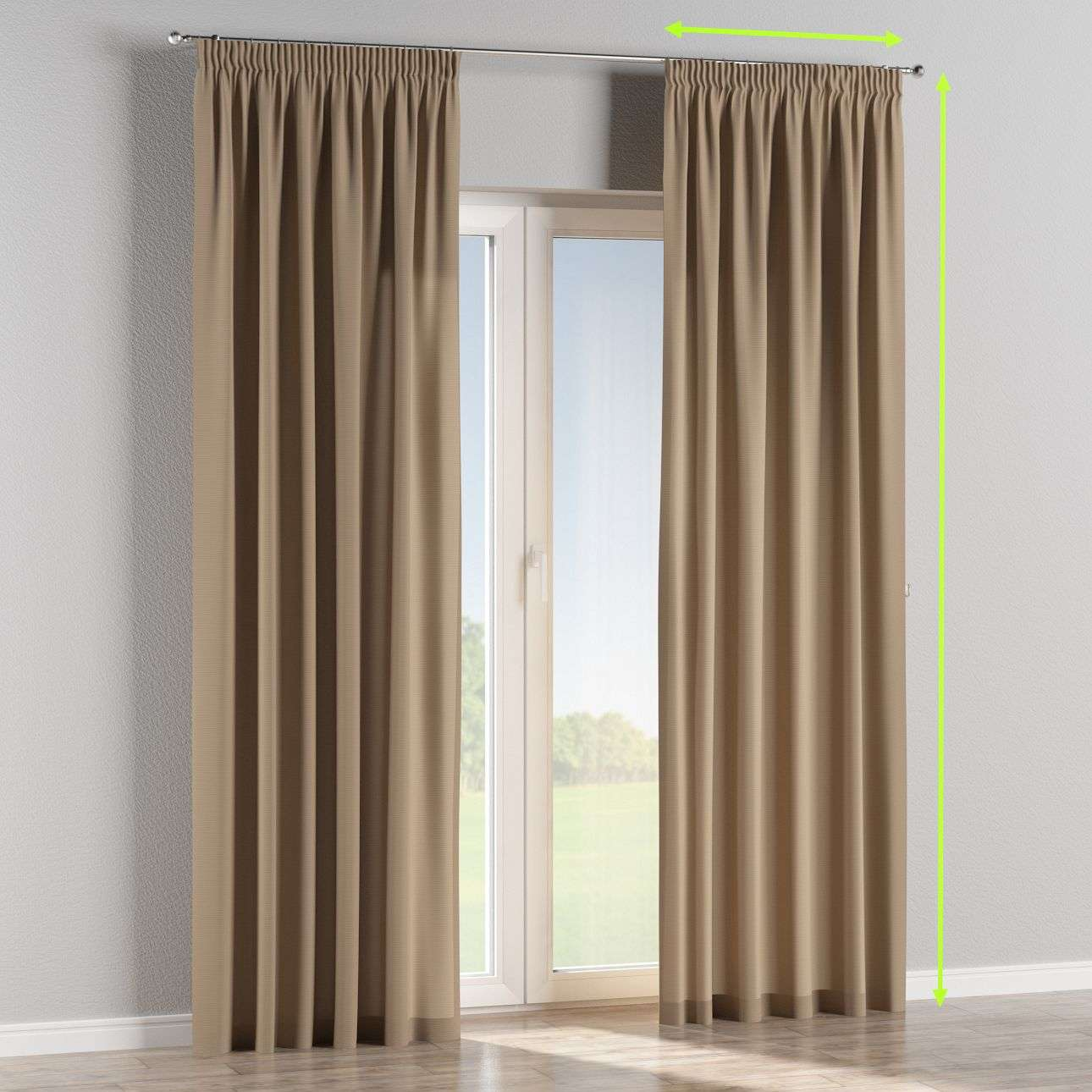 Pencil pleat lined curtains in collection Cotton Panama, fabric: 702-28