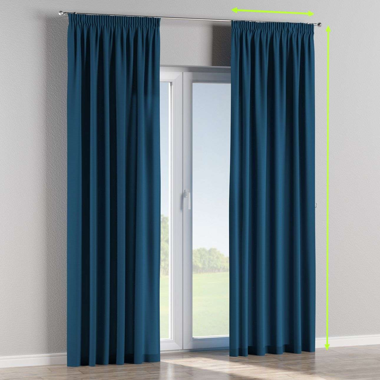 Pencil pleat lined curtains in collection Cotton Panama, fabric: 702-30