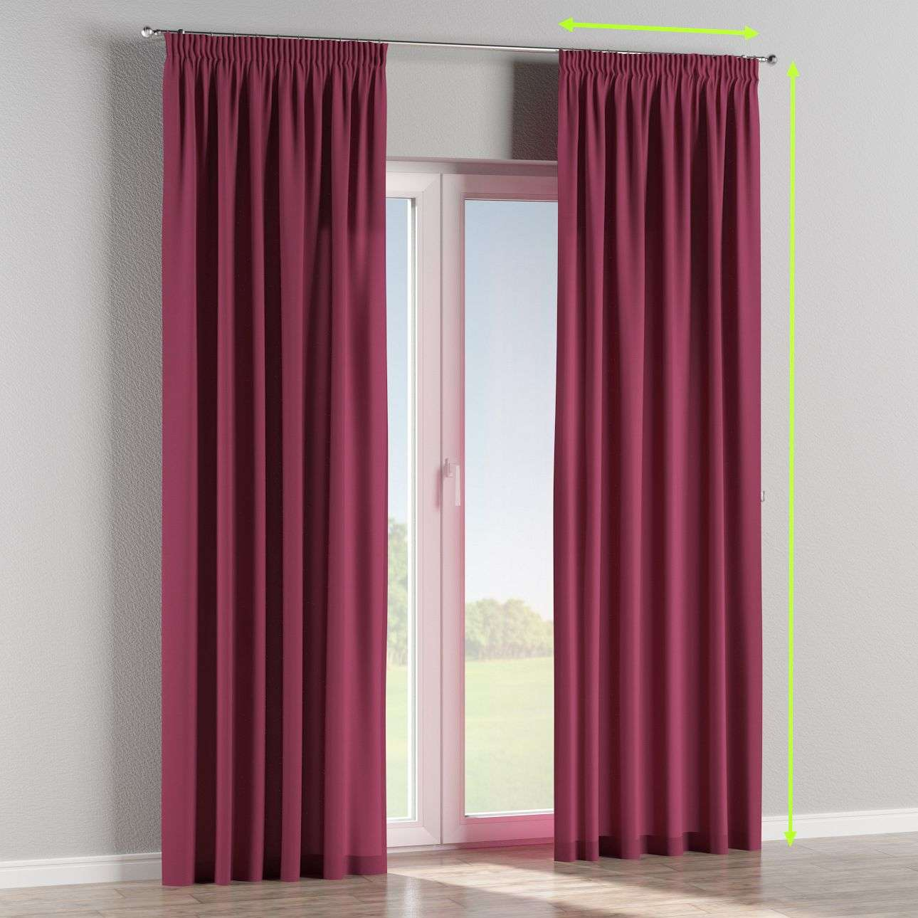 Pencil pleat lined curtains in collection Cotton Panama, fabric: 702-32
