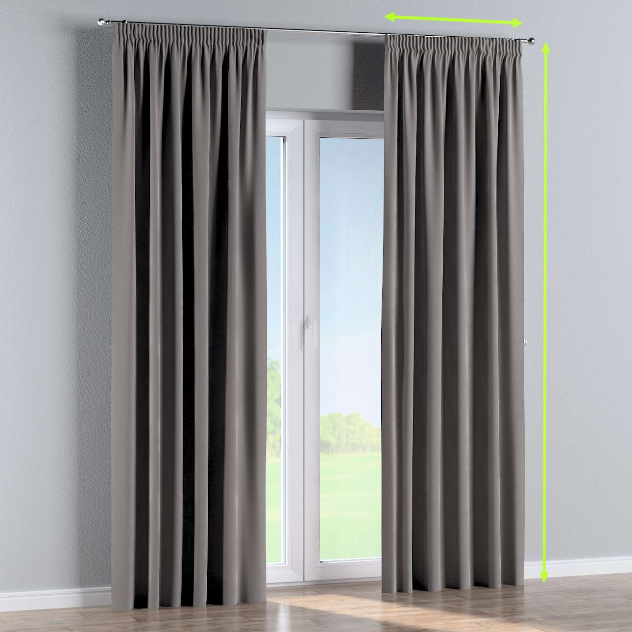 Pencil pleat lined curtains in collection Velvet, fabric: 704-11