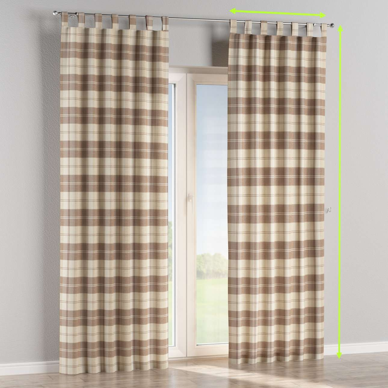 Tab top lined curtains in collection Edinburgh, fabric: 115-80