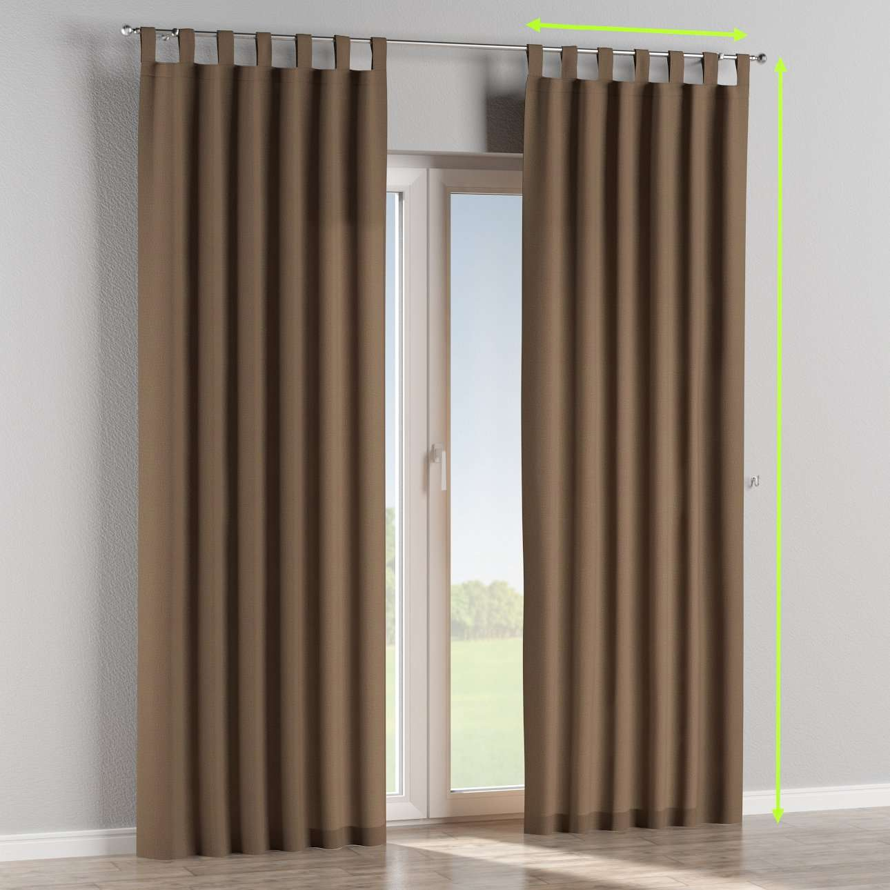 Tab top lined curtains in collection Edinburgh , fabric: 115-85