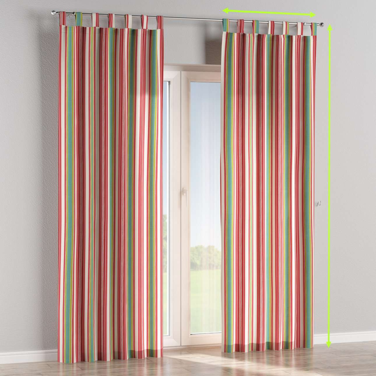 Tab top lined curtains in collection Londres, fabric: 122-01
