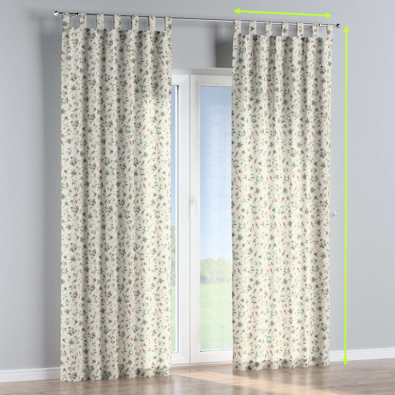 Tab top lined curtains in collection Londres, fabric: 122-02