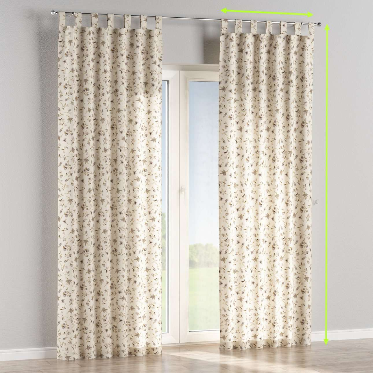 Tab top lined curtains in collection Londres, fabric: 122-04