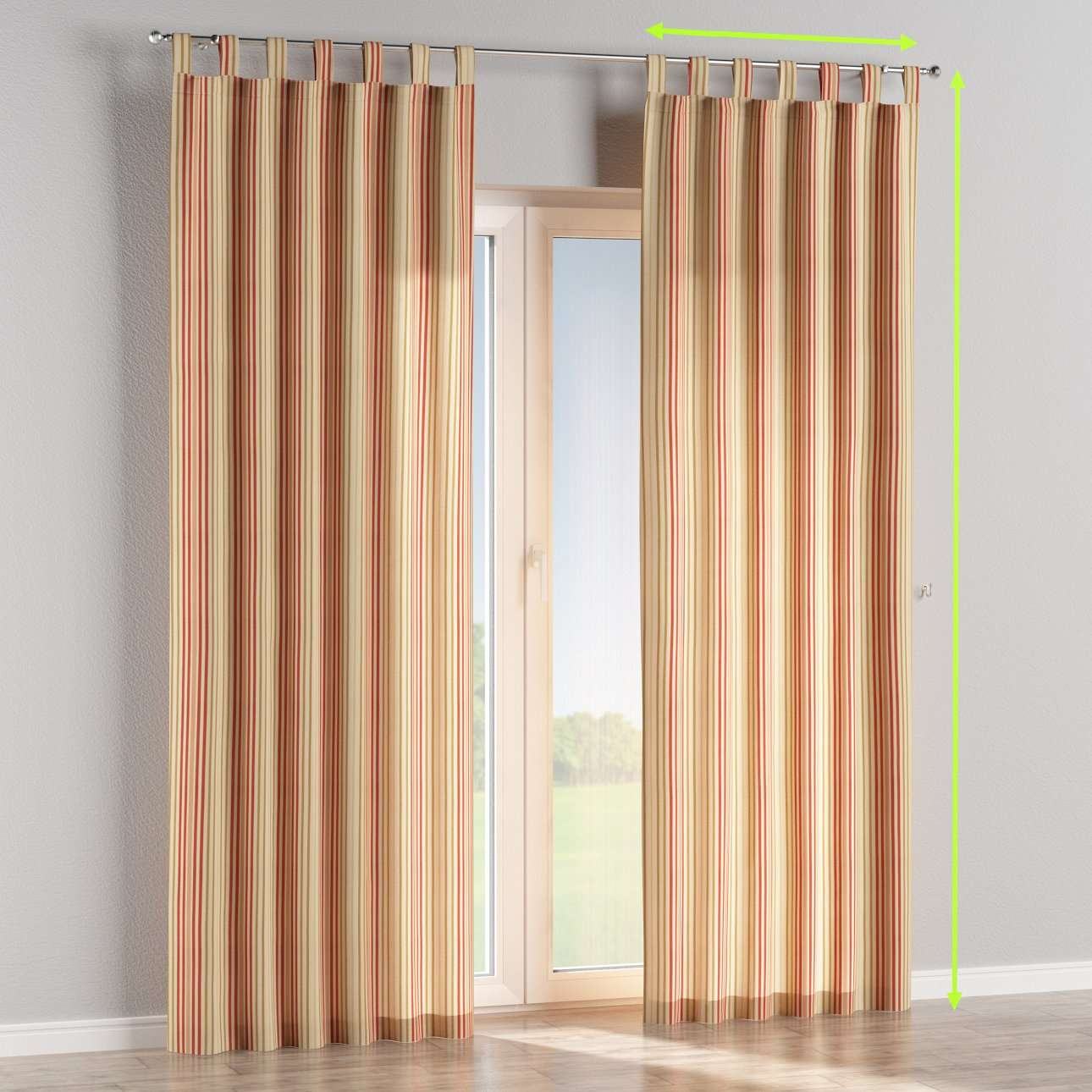 Tab top lined curtains in collection Londres, fabric: 122-05