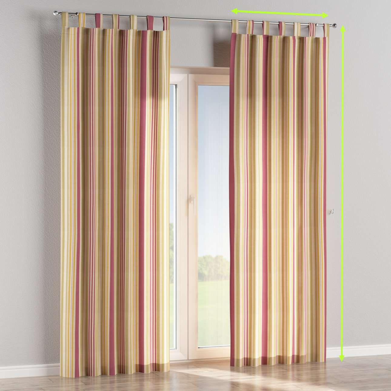 Tab top lined curtains in collection Londres, fabric: 122-09