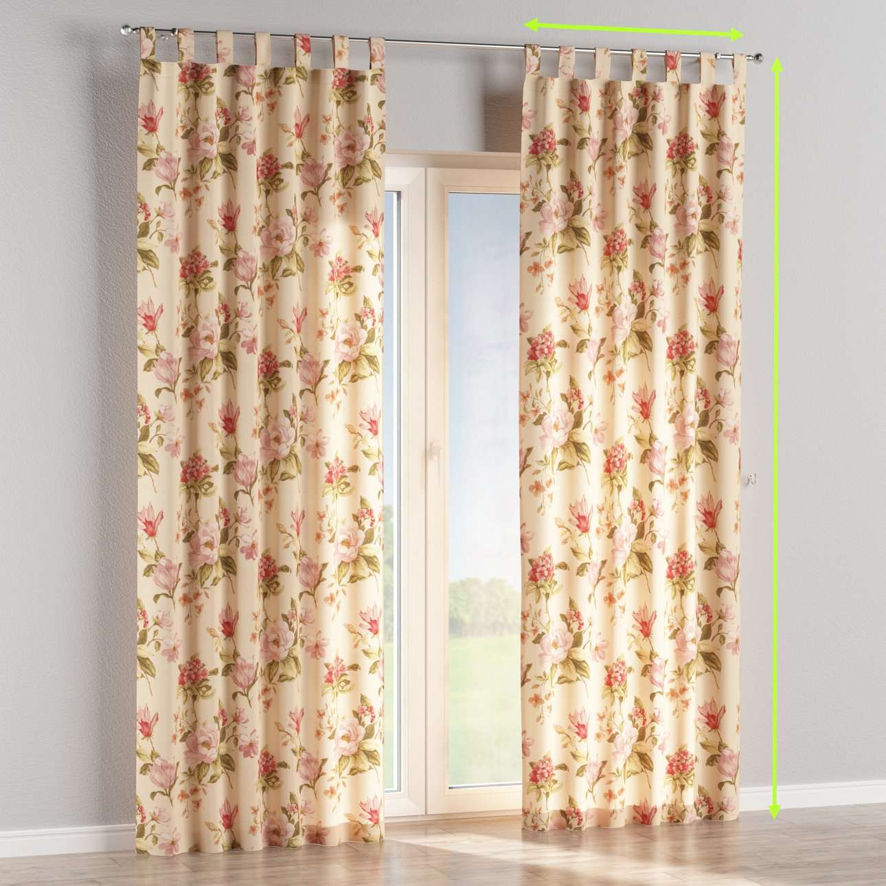 Tab top lined curtains in collection Londres, fabric: 123-05