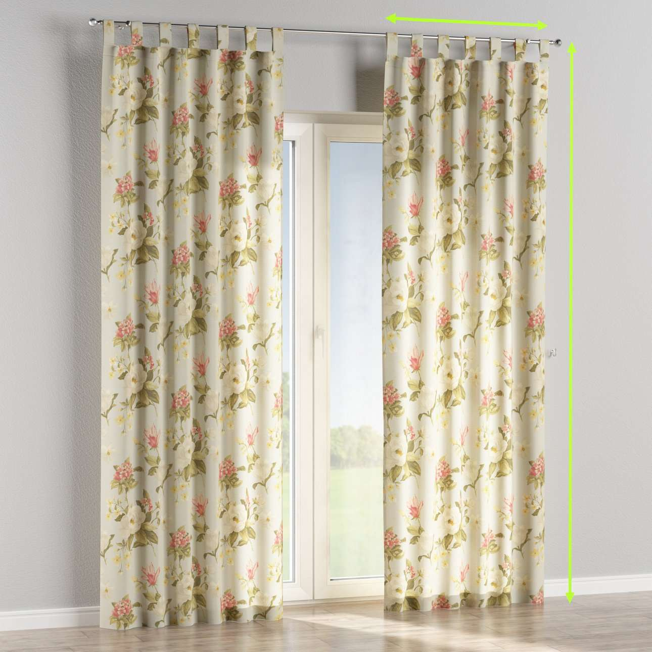Tab top lined curtains in collection Londres, fabric: 123-65