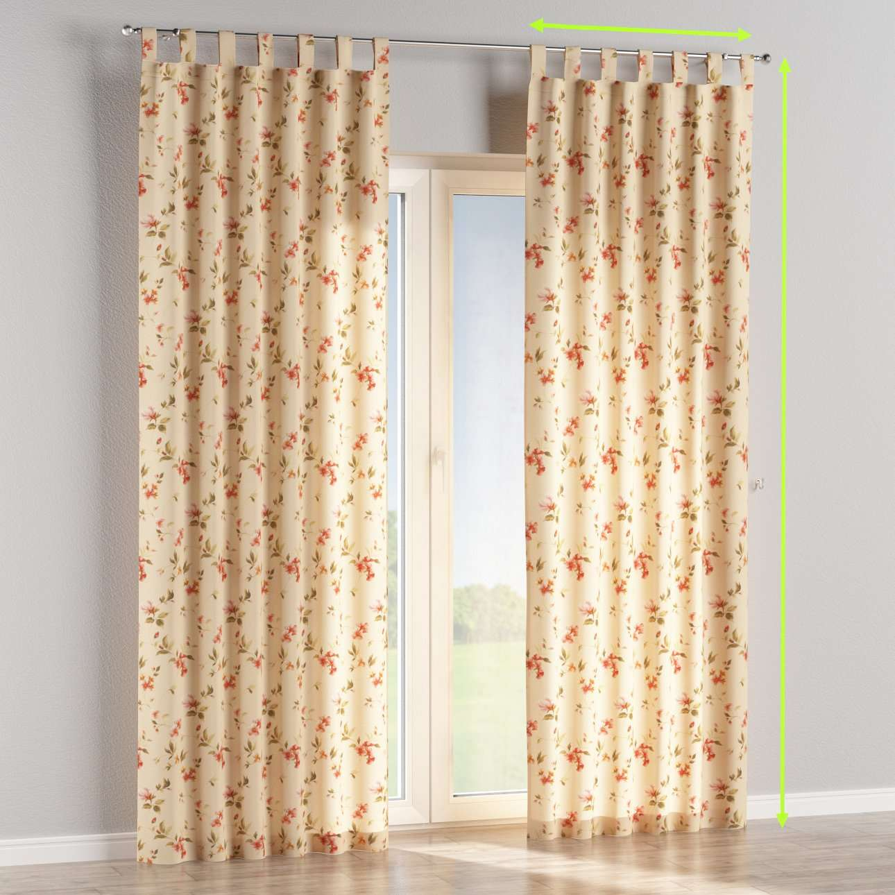 Tab top lined curtains in collection Londres, fabric: 124-05