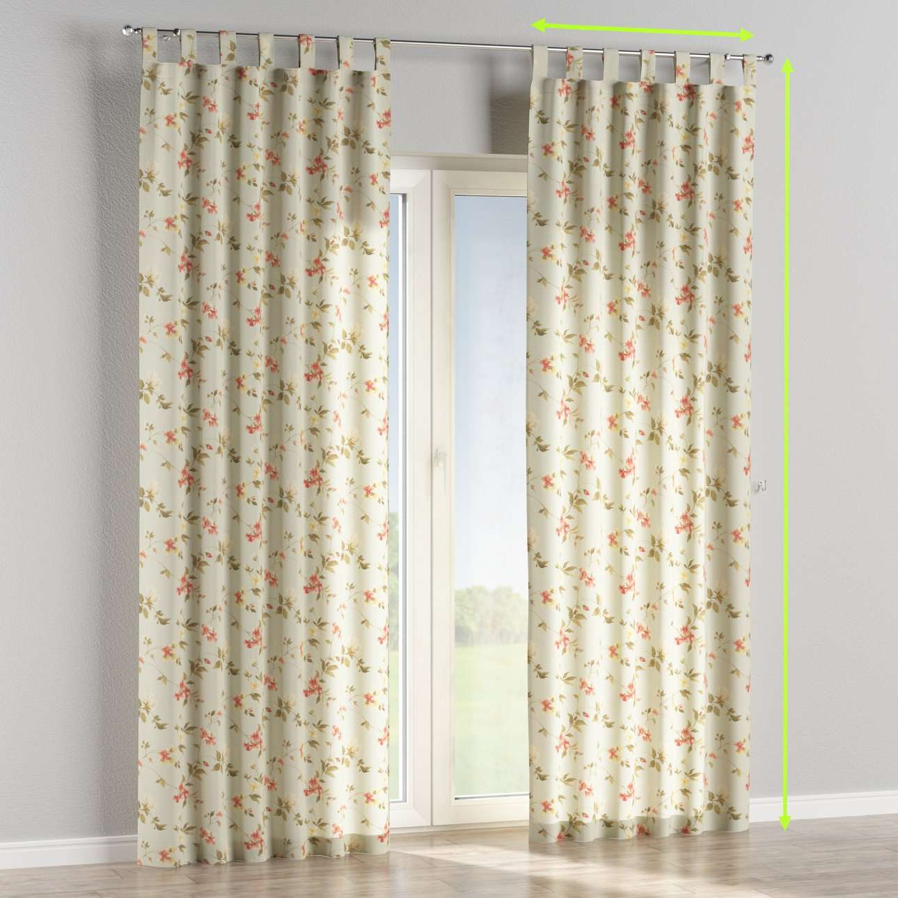 Tab top lined curtains in collection Londres, fabric: 124-65