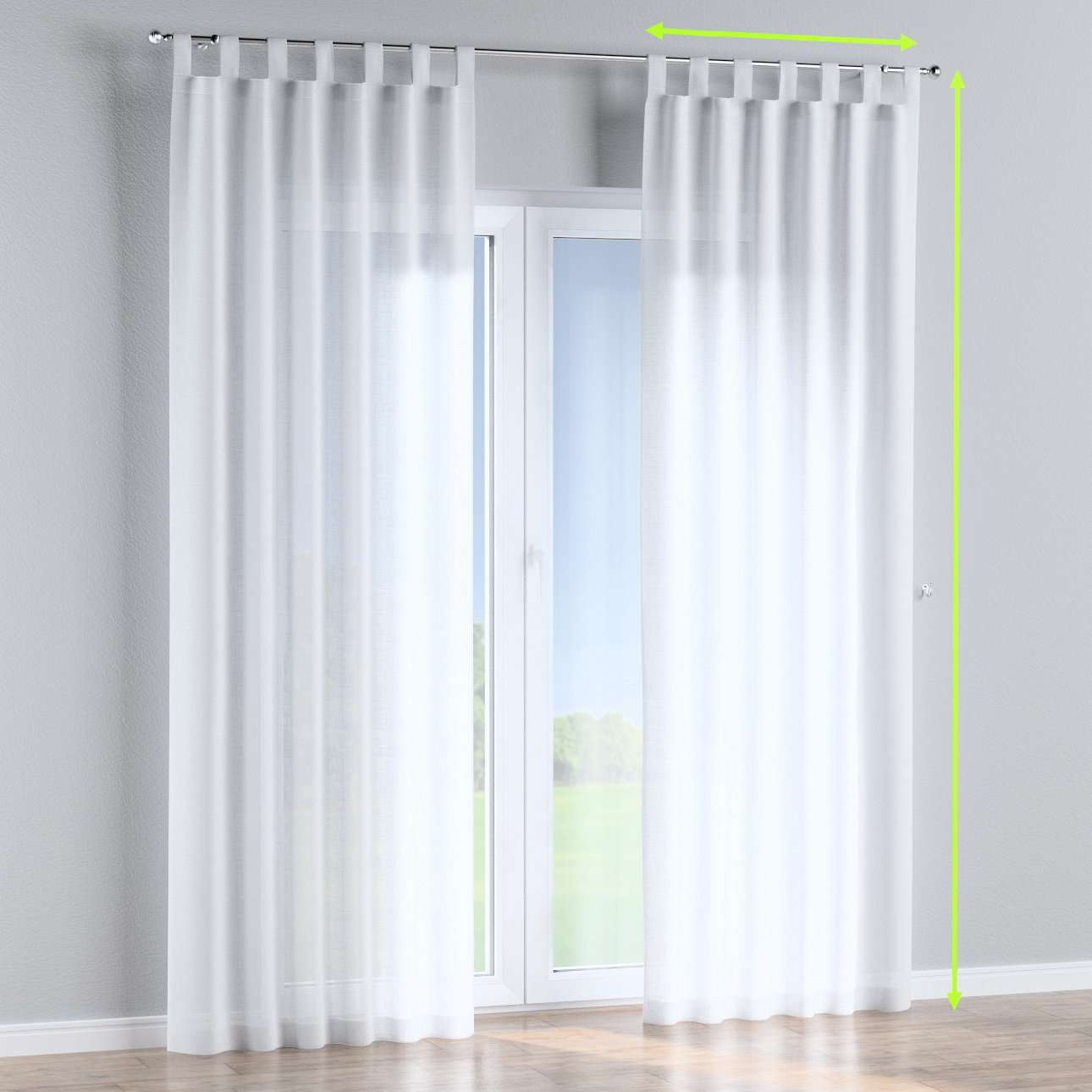 Tab top lined curtains in collection Romantica, fabric: 128-77