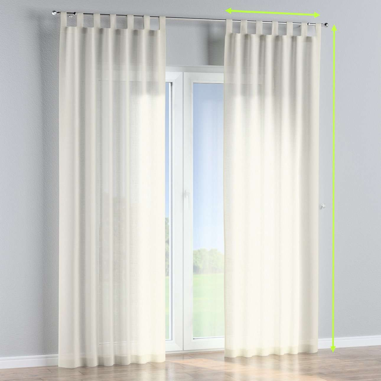 Tab top lined curtains in collection Romantica, fabric: 128-88