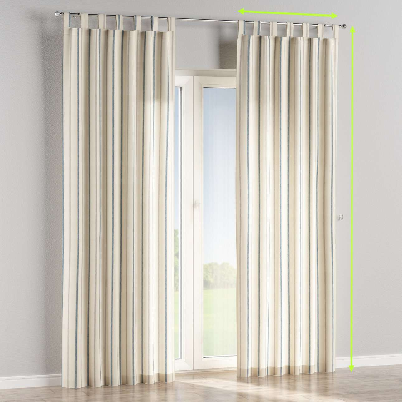 Tab top lined curtains in collection Avinon, fabric: 129-66