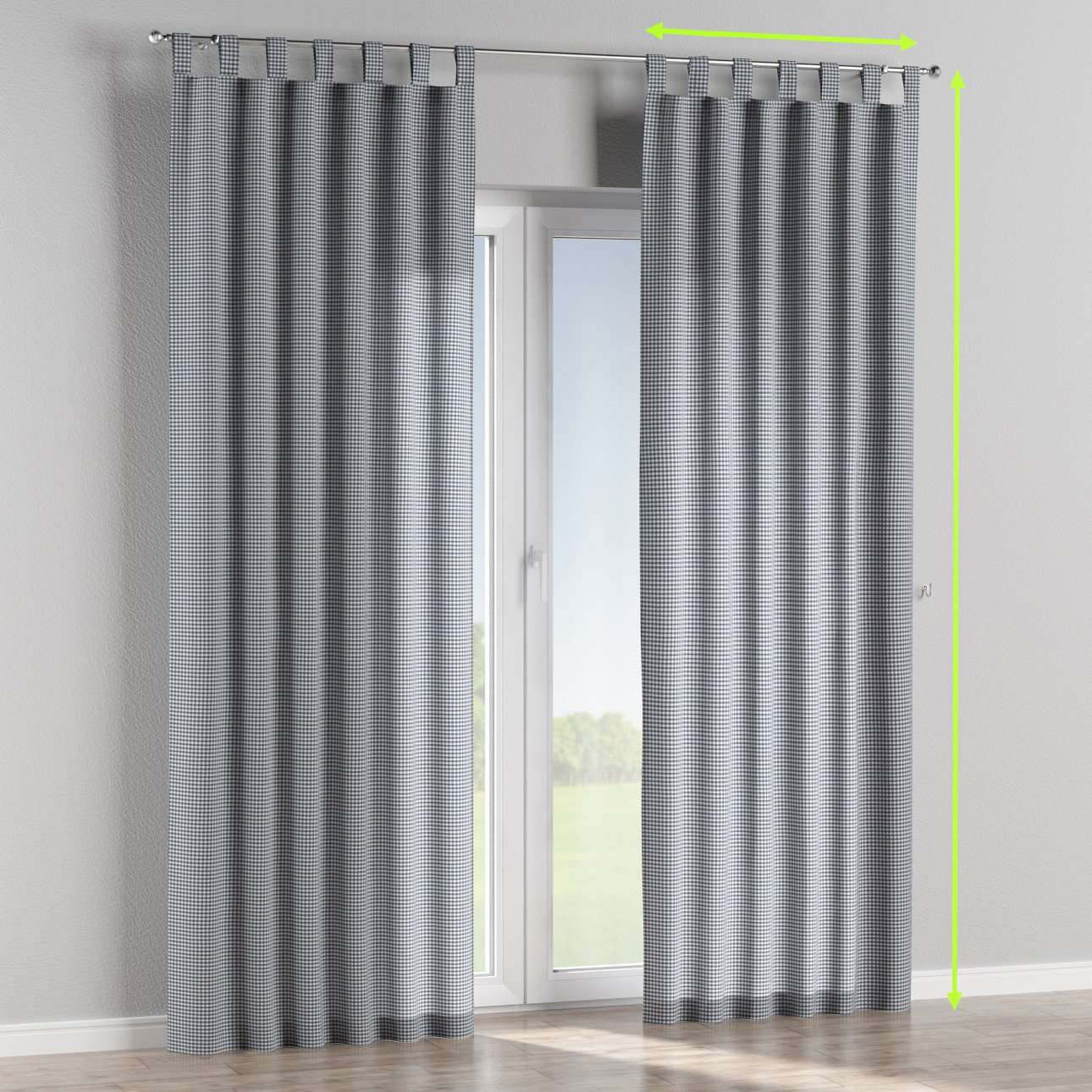 Tab top lined curtains in collection Quadro, fabric: 136-00