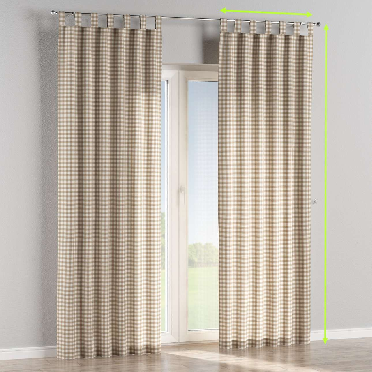 Tab top lined curtains in collection Quadro, fabric: 136-06