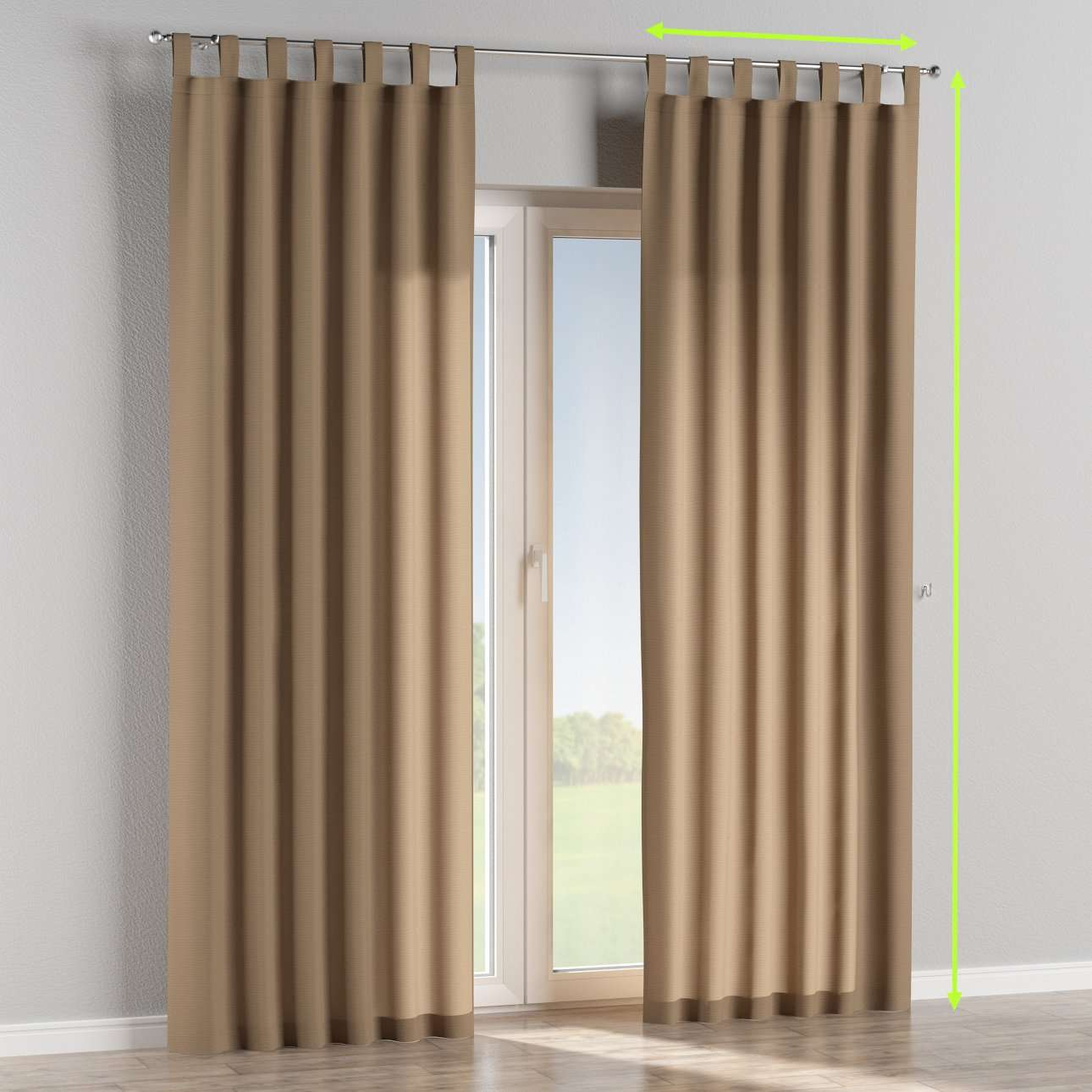 Tab top lined curtains in collection Quadro, fabric: 136-09