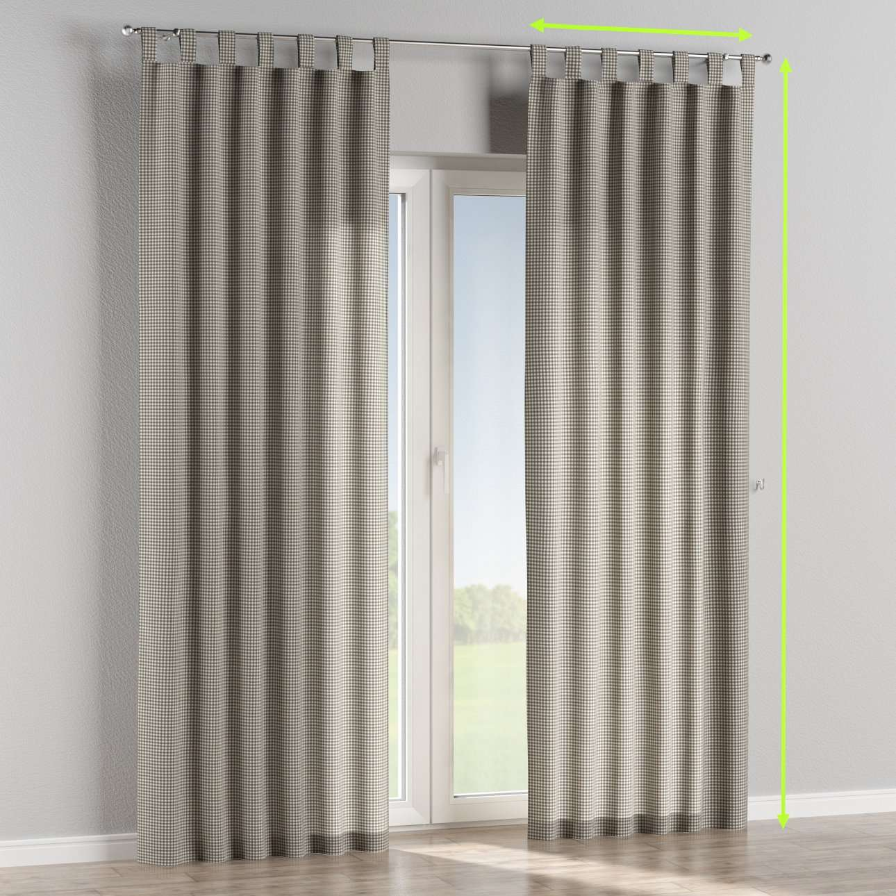 Tab top lined curtains in collection Quadro, fabric: 136-10