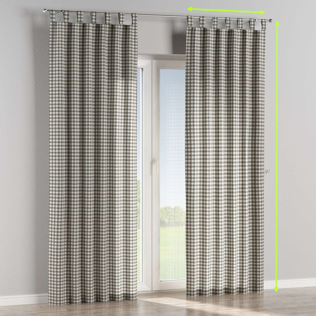 Tab top lined curtains in collection Quadro, fabric: 136-11