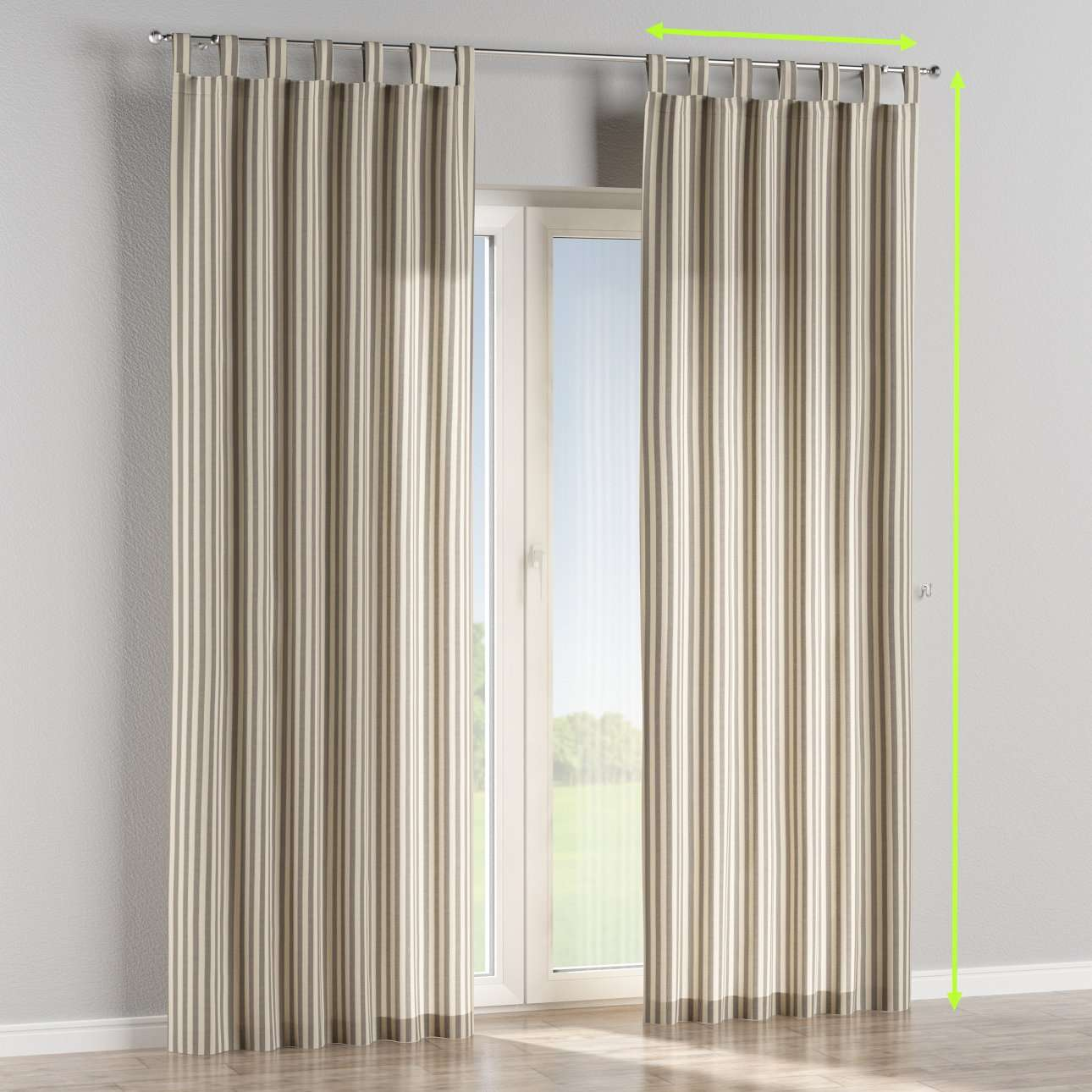 Tab top lined curtains in collection Quadro, fabric: 136-12