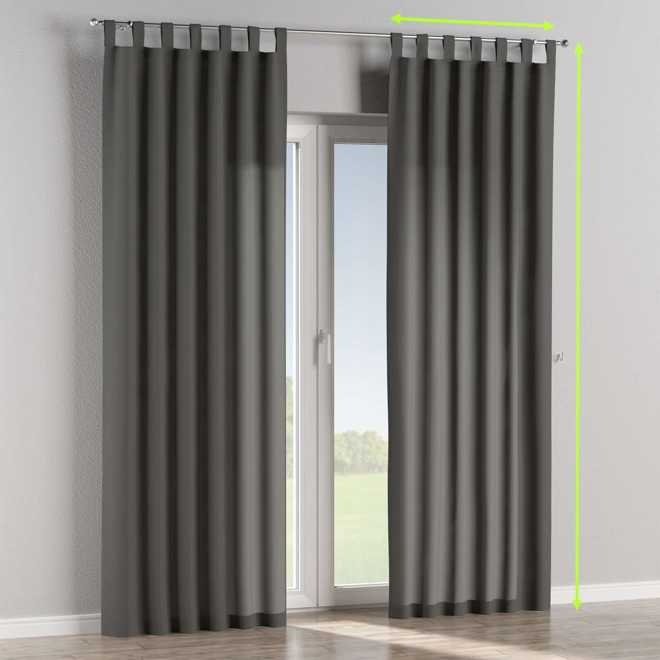 Tab top lined curtains in collection Quadro, fabric: 136-14