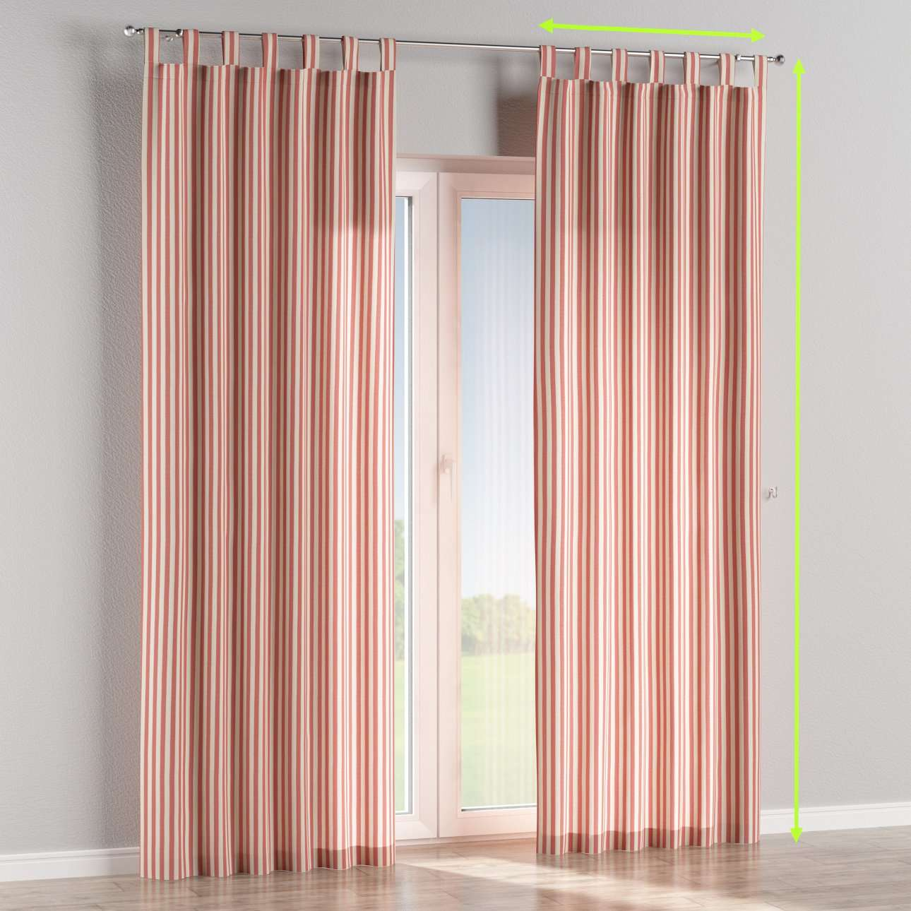 Tab top lined curtains in collection Quadro, fabric: 136-17