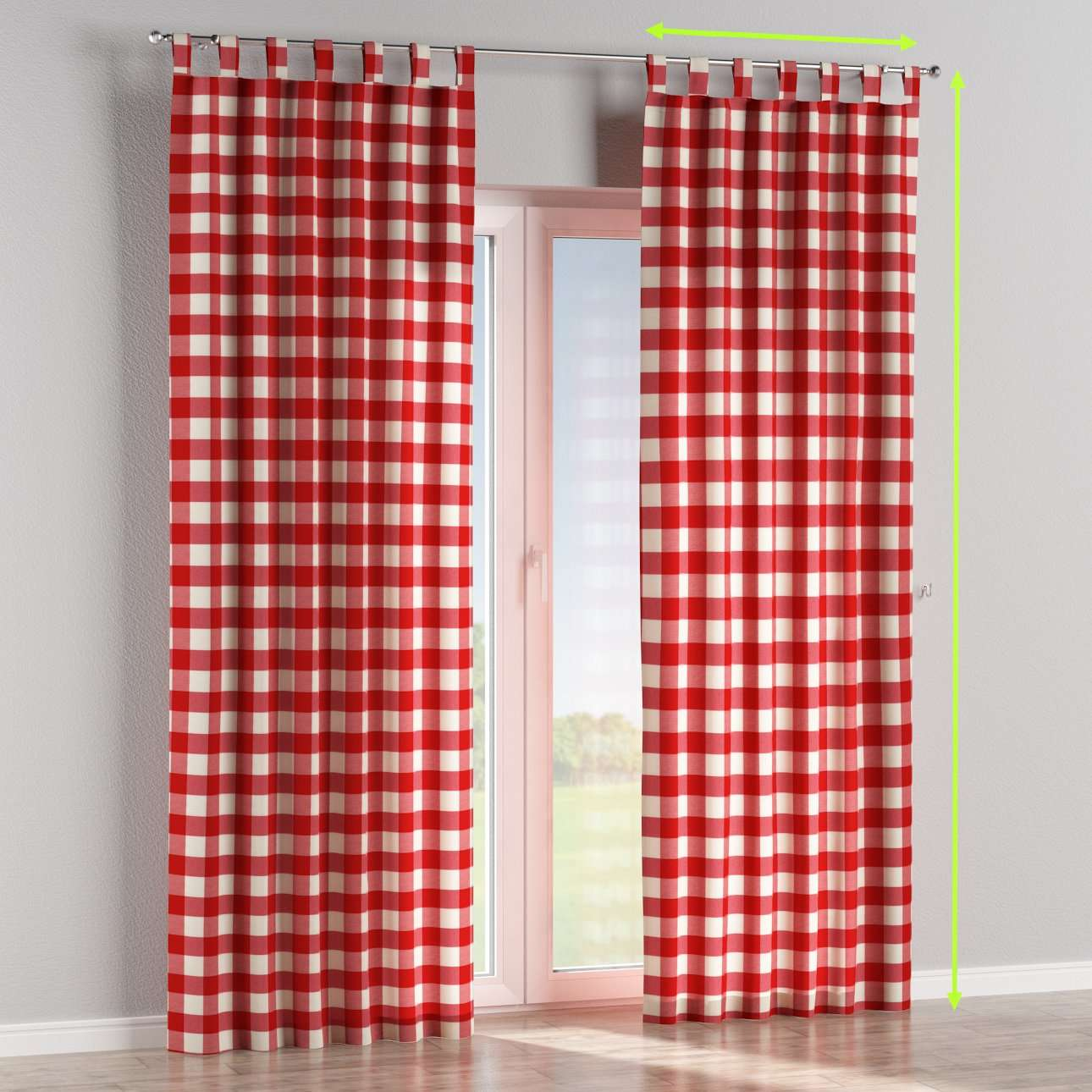 Tab top lined curtains in collection Quadro, fabric: 136-18