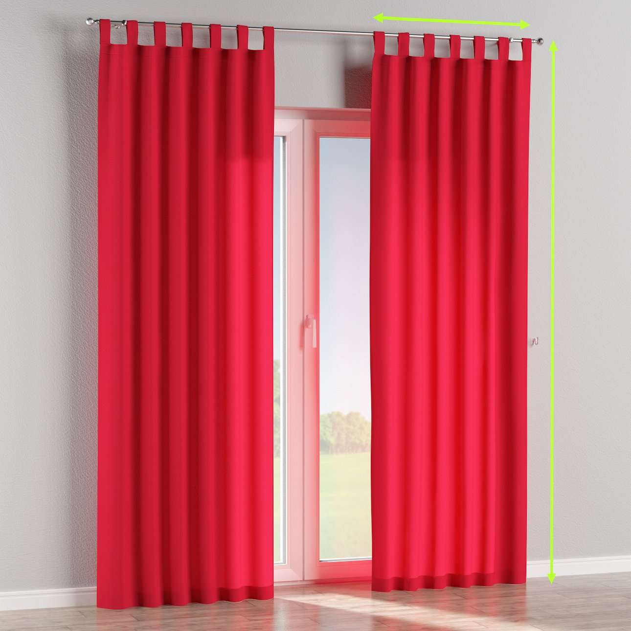 Tab top lined curtains in collection Quadro, fabric: 136-19