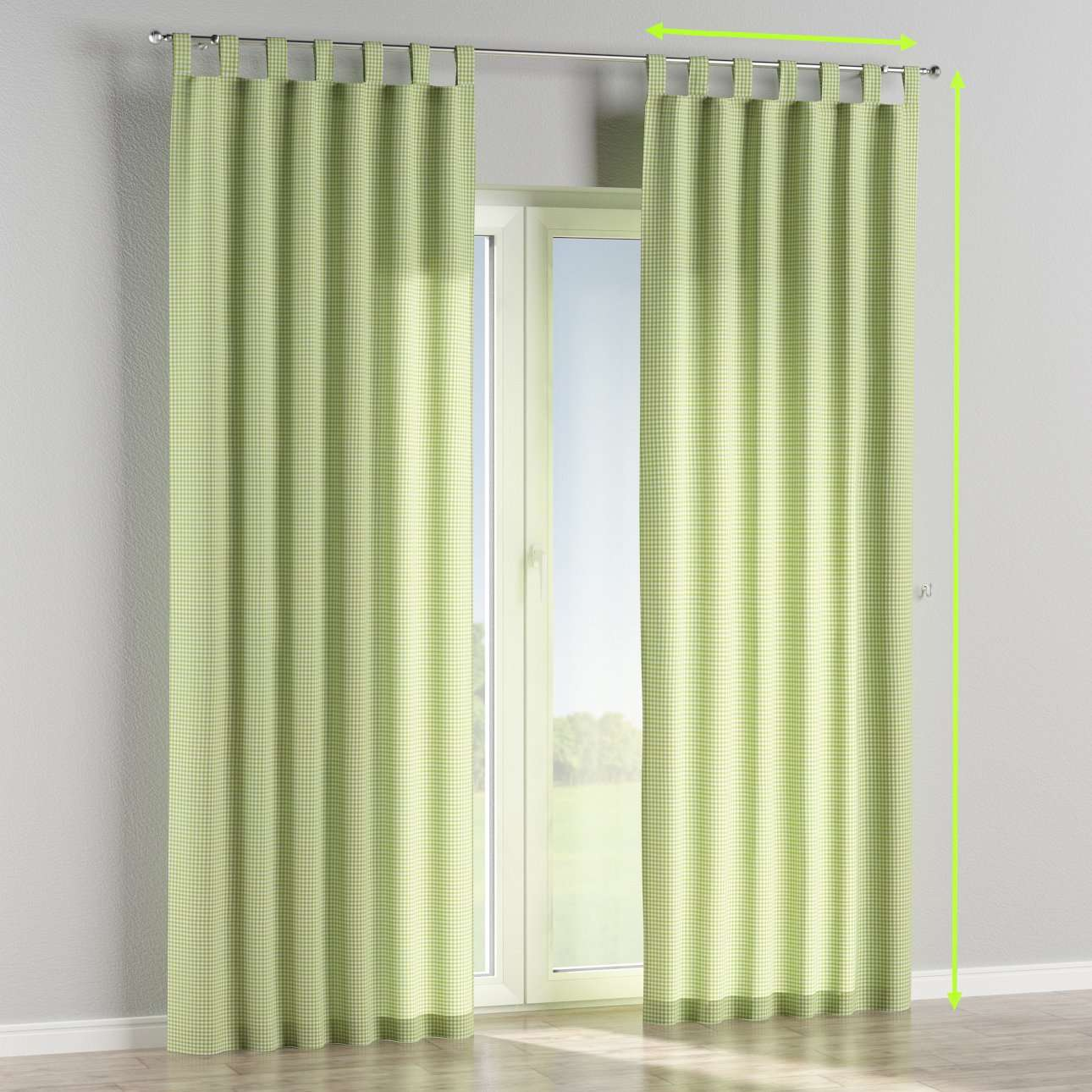 Tab top lined curtains in collection Quadro, fabric: 136-33
