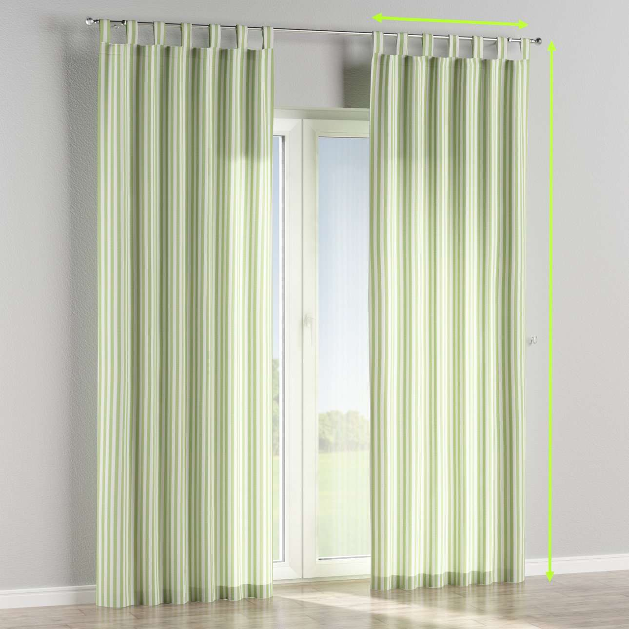 Tab top lined curtains in collection Quadro, fabric: 136-35