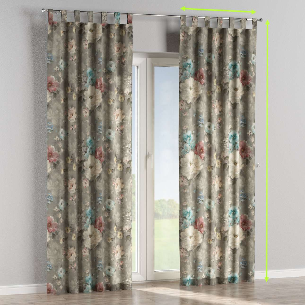 Tab top lined curtains in collection Monet, fabric: 137-81