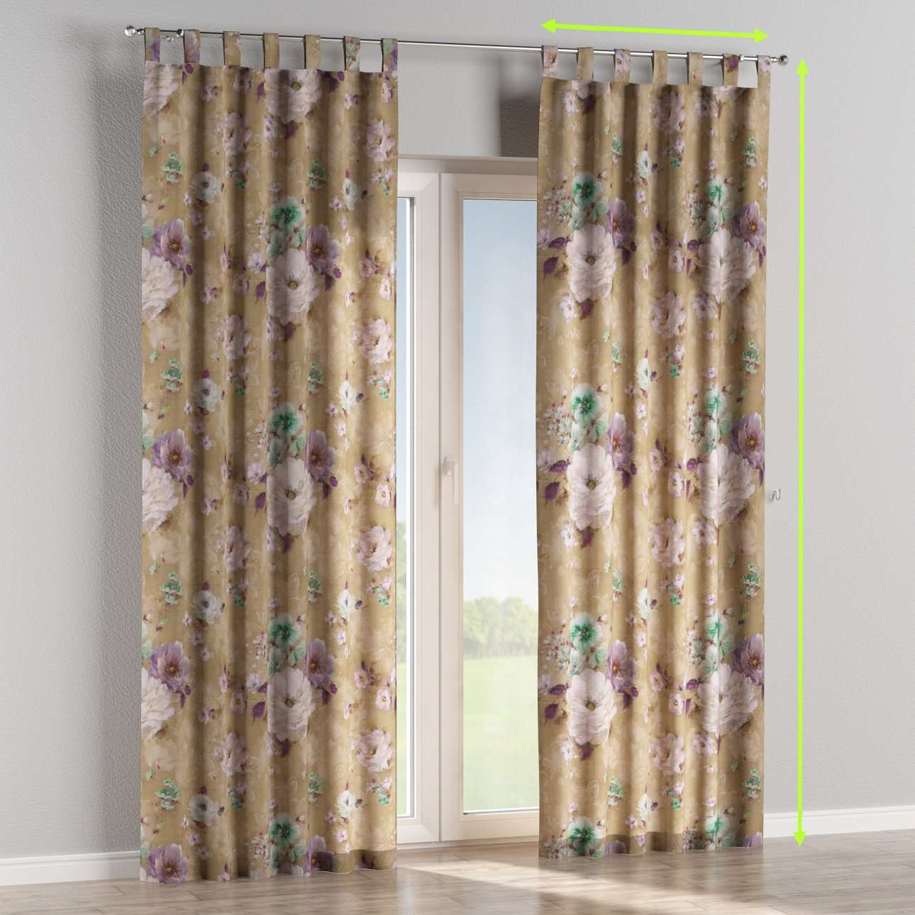 Tab top lined curtains in collection Monet, fabric: 137-82