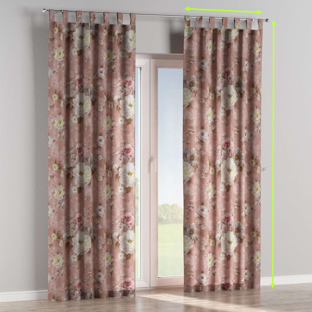 Tab top lined curtains in collection Monet, fabric: 137-83