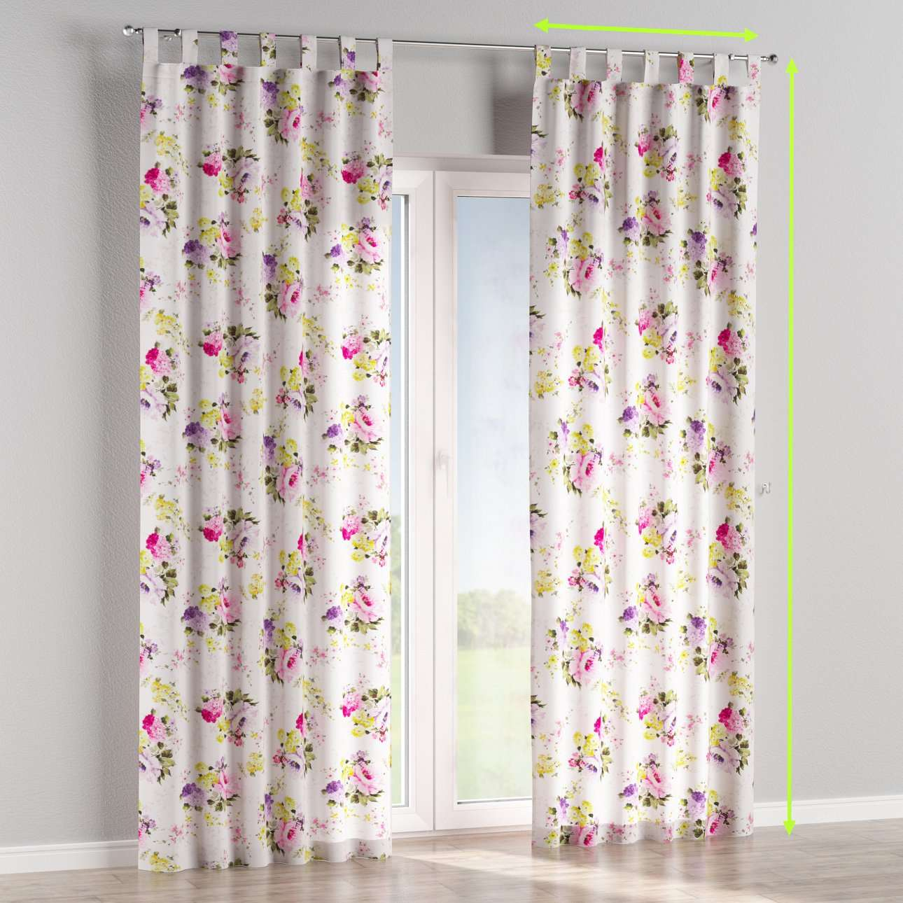 Tab top lined curtains in collection Monet, fabric: 140-00