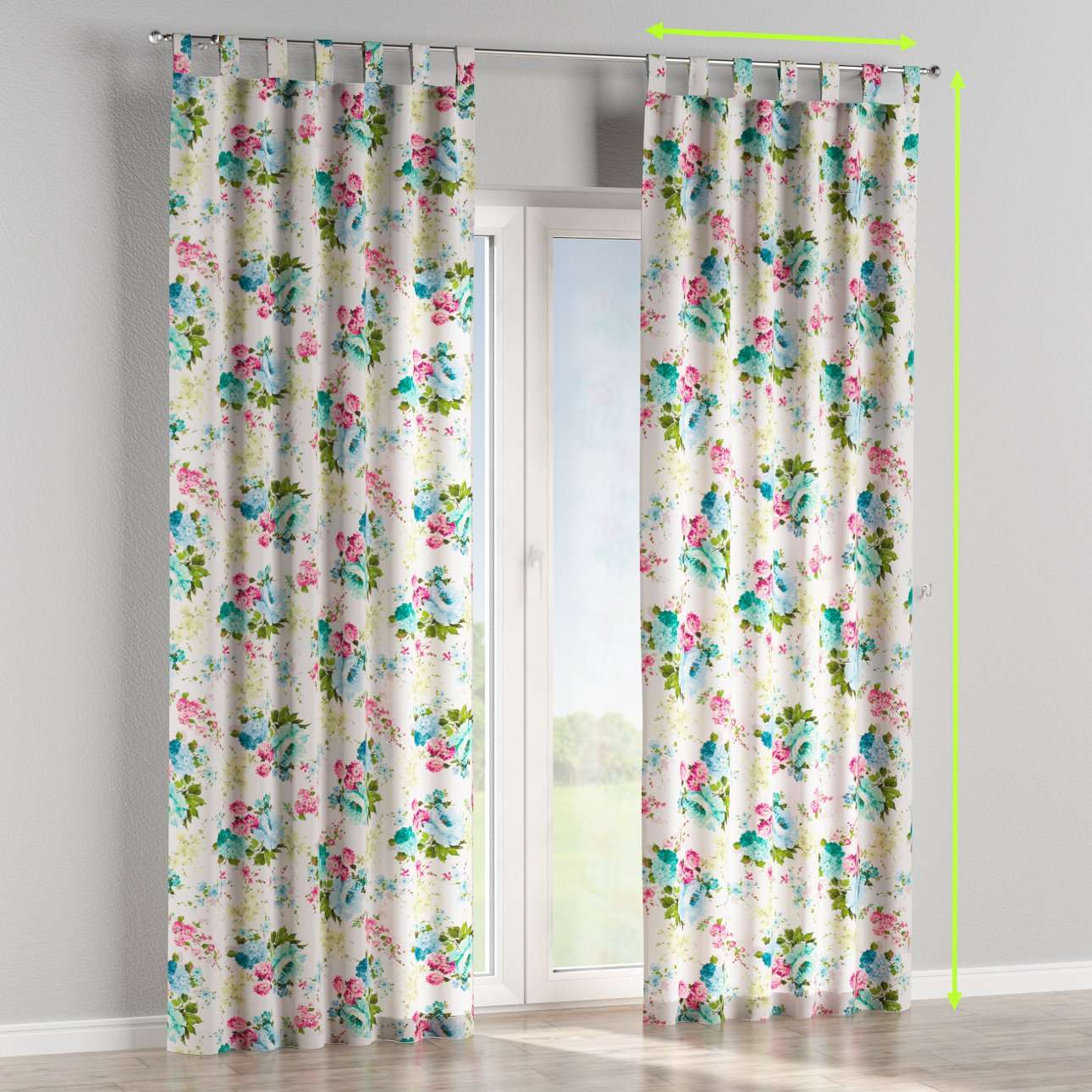 Tab top lined curtains in collection Monet, fabric: 140-02