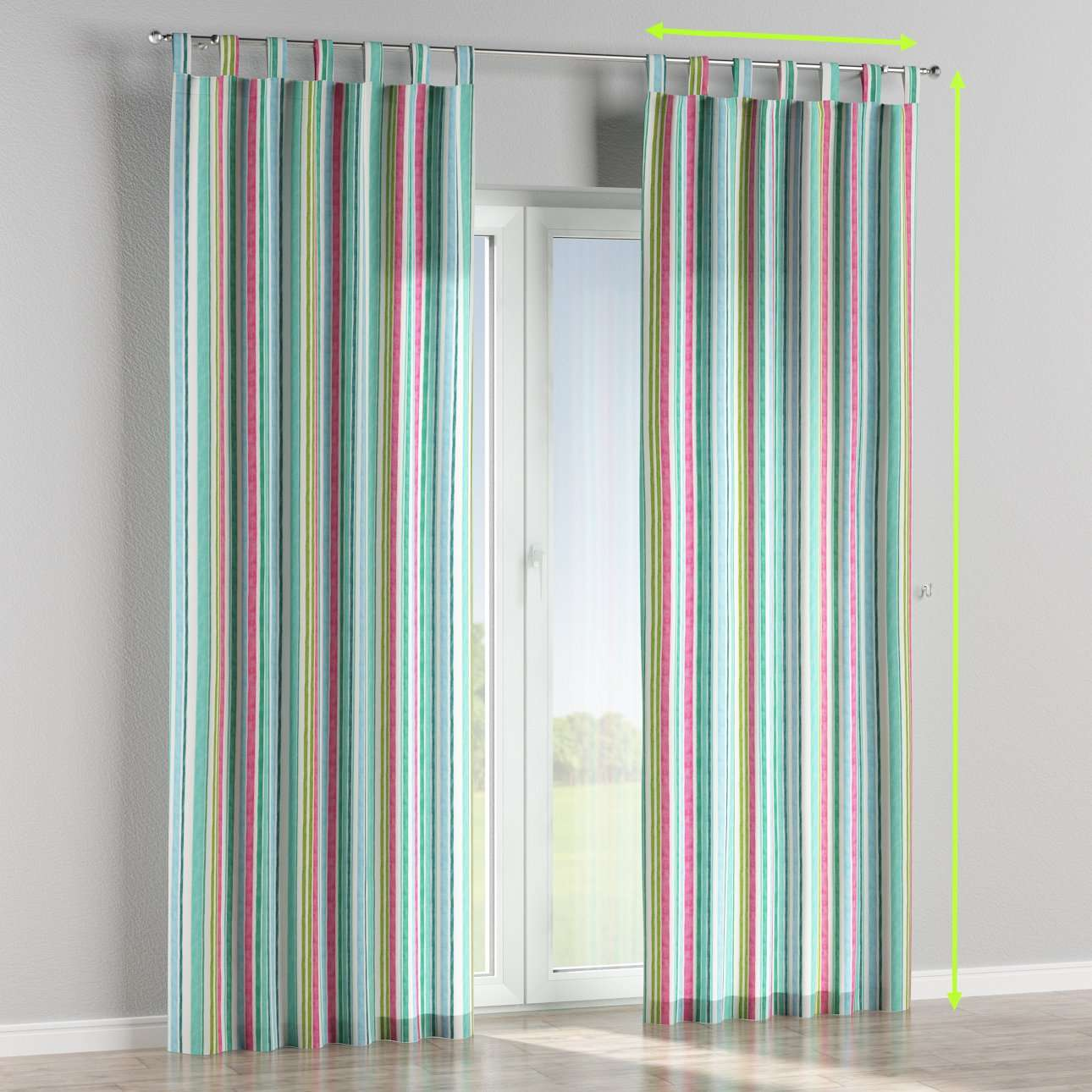 Tab top lined curtains in collection Monet, fabric: 140-03