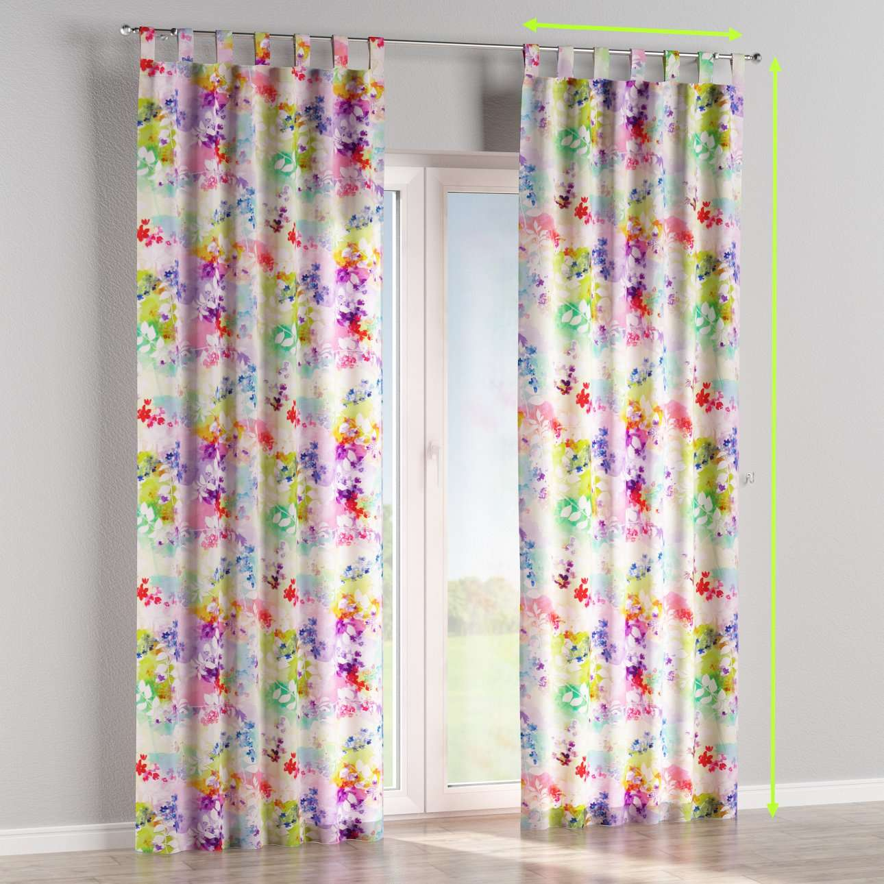 Tab top lined curtains in collection Monet, fabric: 140-07