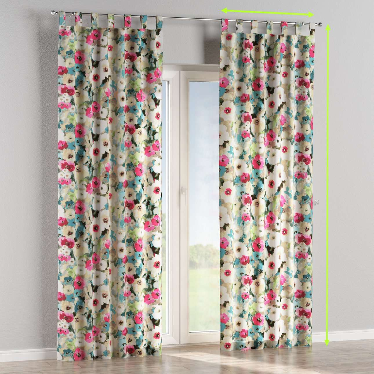 Tab top lined curtains in collection Monet, fabric: 140-08