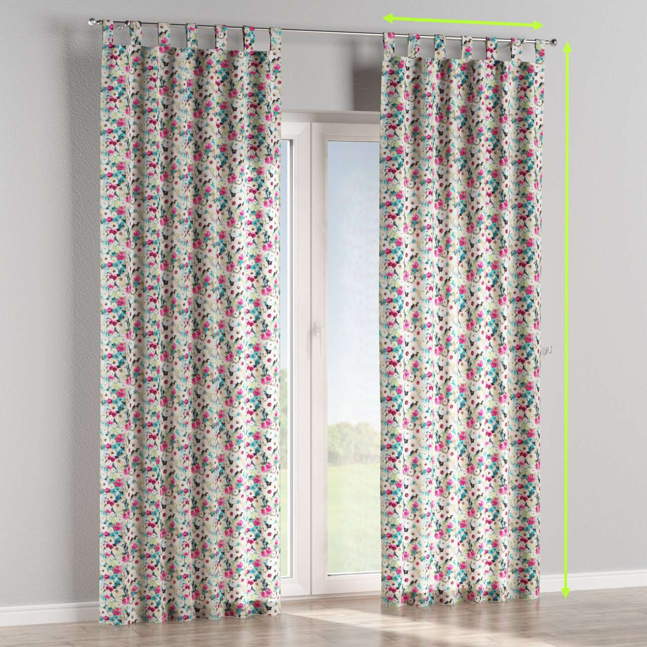 Tab top lined curtains in collection Monet, fabric: 140-10
