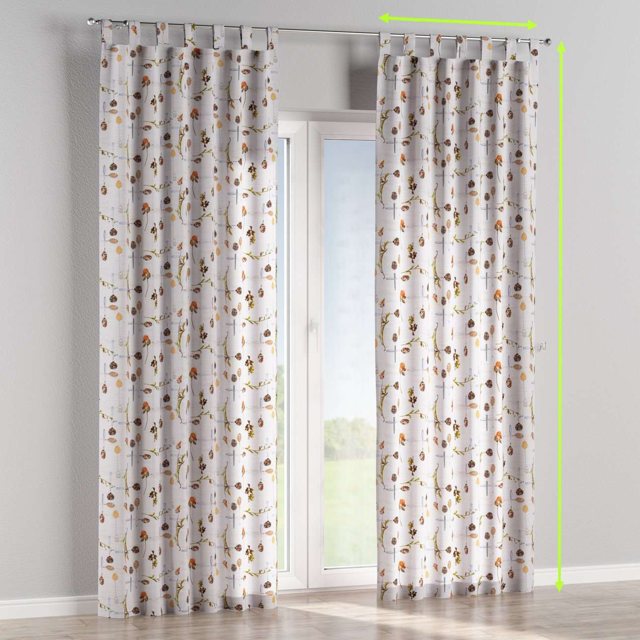Tab top lined curtains in collection Flowers, fabric: 140-11