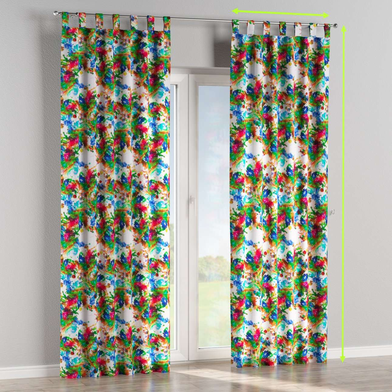Tab top lined curtains in collection New Art, fabric: 140-23